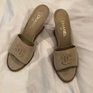 Chanel Canvas Wedges